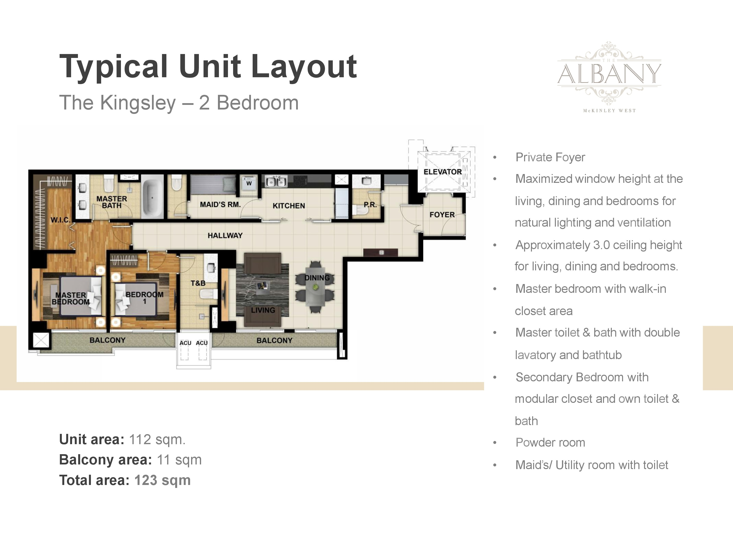 The Albany Unit Plan - 2 Bedrooms