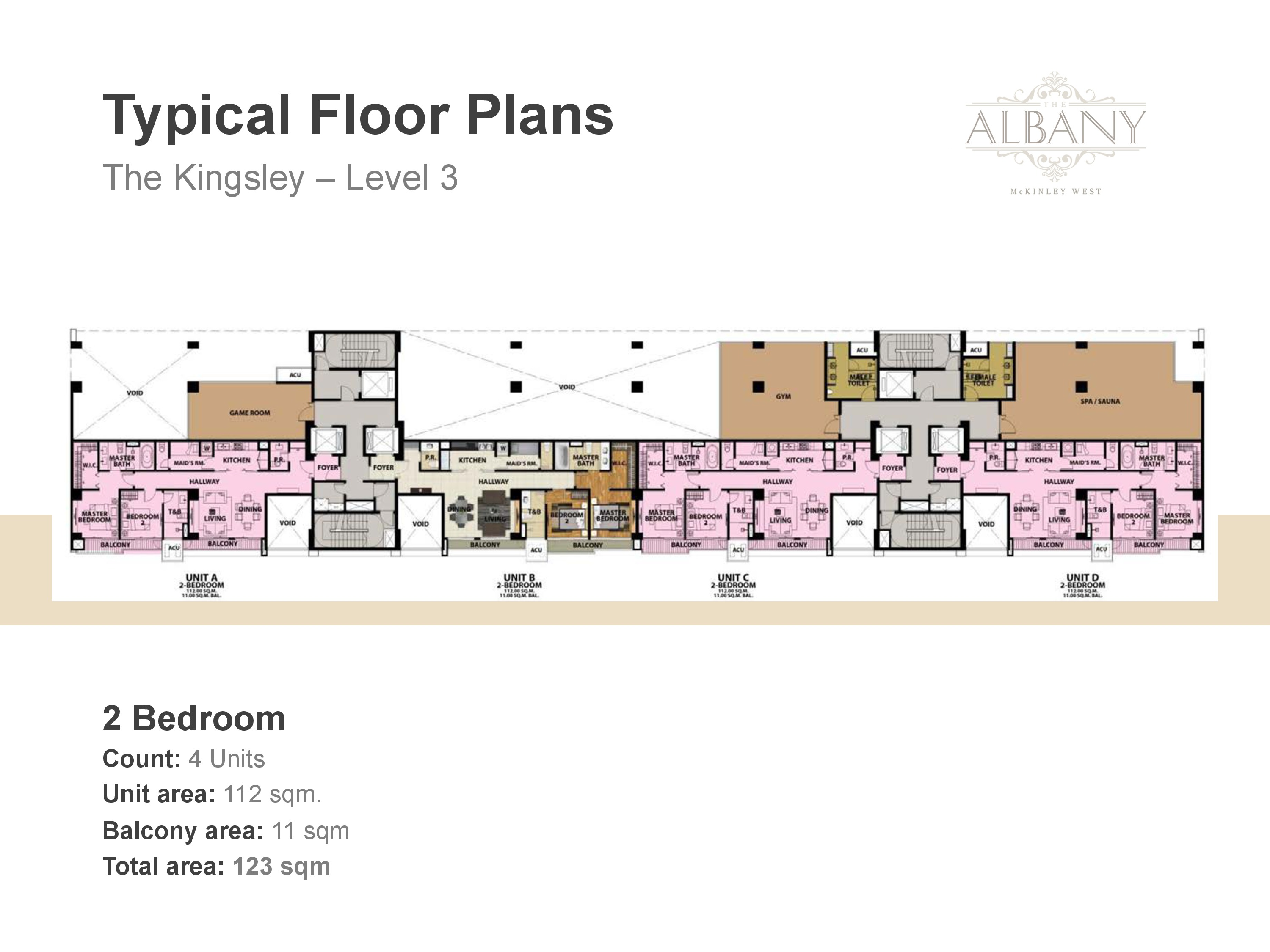 The Albany Floor Plan - Level 3 two Bedroom