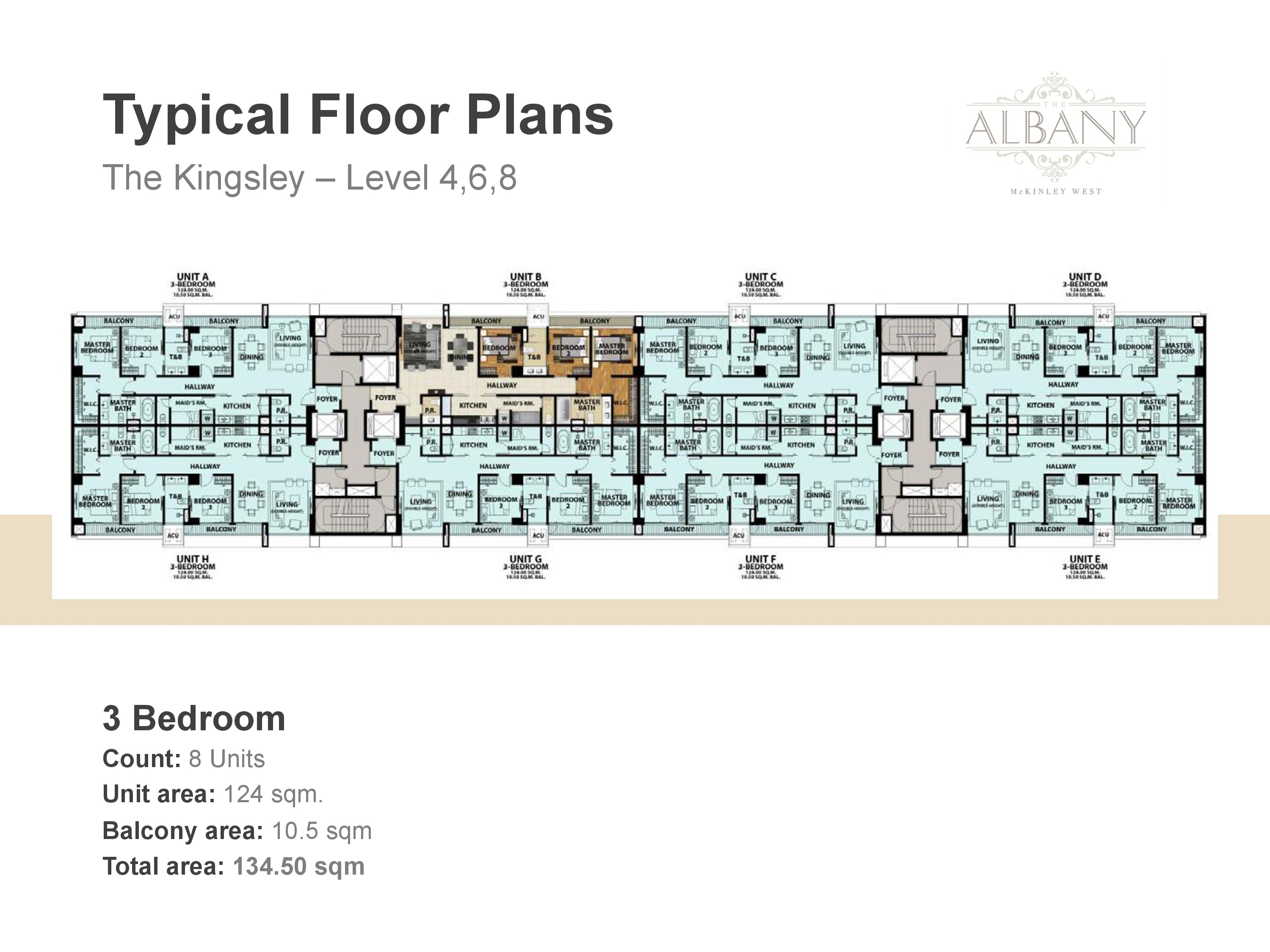 The Albany Floor Plan - 3 Bedroom Level Four, Six and Eight