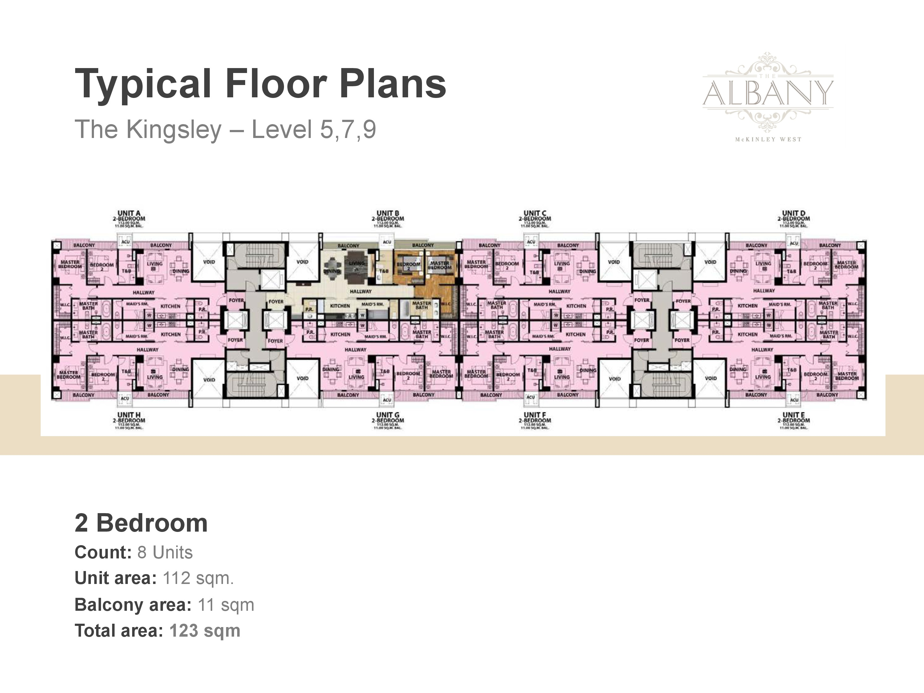 The Albany Floor Plan - 2 Bedroom Level Five, Seven and Nine