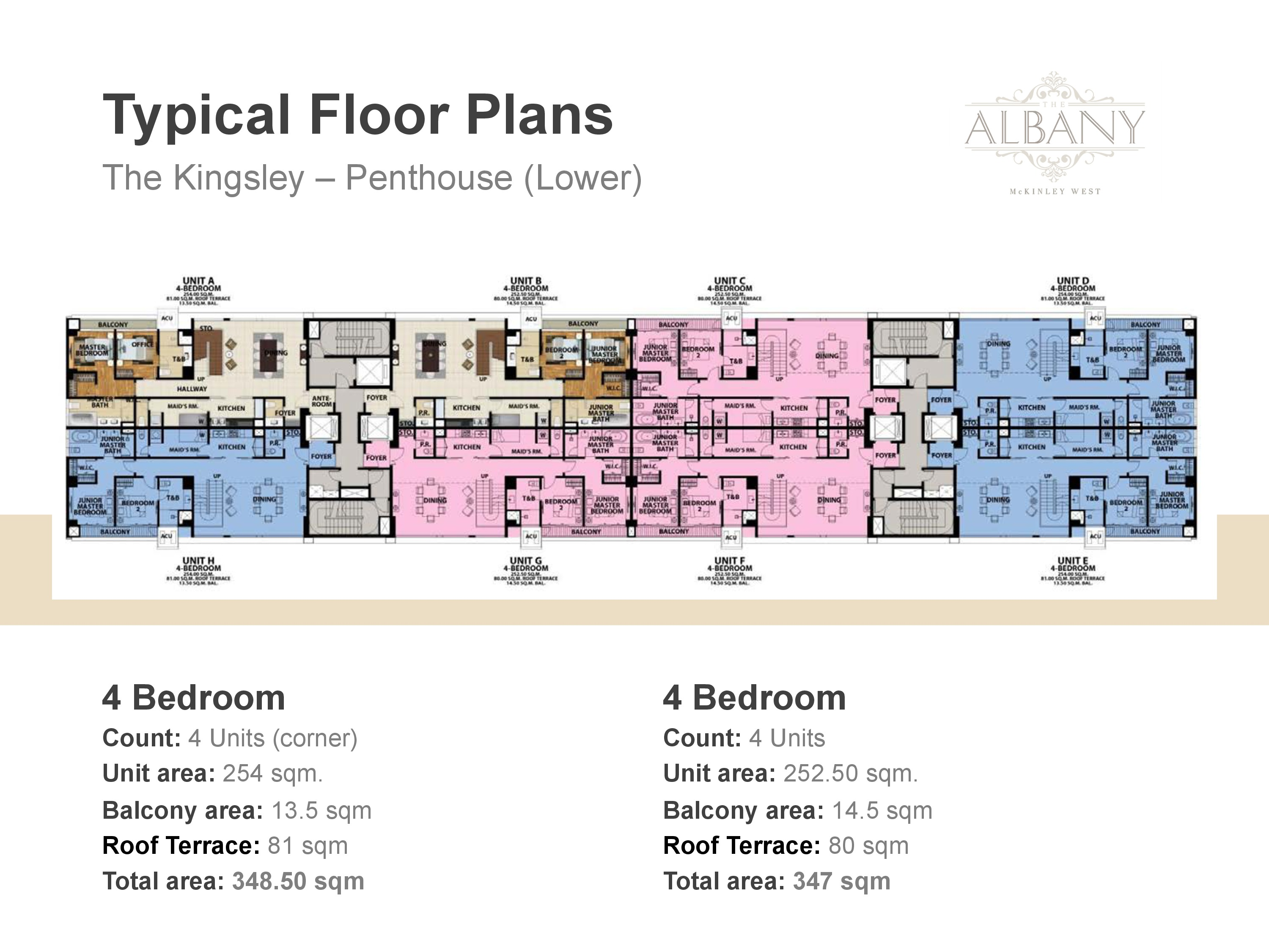 The Albany Floor Plan - 4 Bedrooms Lower Penthouse